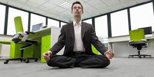 meditation in office. Meditation In Office. Businessman Practicing Office O