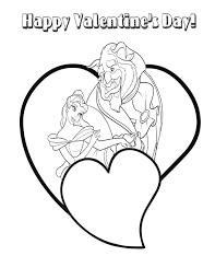 Beauty And The Beast Valentine Heart Coloring Page H M Coloring