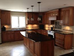 Black Granite Countertops With Tile Backsplash New Cherry Cabinets Maple Wood Doors Black Granite Counters