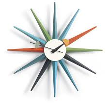 ... Clocks, Exciting Nelson Wall Clock George Nelson Clock Reproduction  Colorful Wall Clock With Star Shape ...
