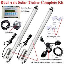 electric dual axis solar tracker 16 linear actuator 1500n dc motor lcd controller