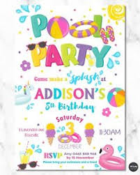 8x Pool Party Invitations Invite Summer Girls Inflatable Floats