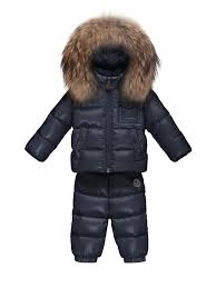 Moncler Baby s Long Sleeve Fur-Trim Puffer Jacket Navy Kids Baby (0-24  Months) Outerwear