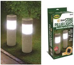 Landscape Pillar Lighting Unbranded 2 Solar Stone Pillar Led Lights Pathway Garden Yard Accent Walkway Landscape New