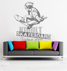 creative wall decals skateboarding skateboard urban wallpaper pattern family home room art deco wall stickers on art deco style wall decals with creative wall decals skateboarding skateboard urban wallpaper
