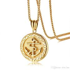 punk mens anchor pendant necklace gold color stainless steel necklaces with box chain 24 erkek kolye male rock jewelry canada 2019 from elva lau