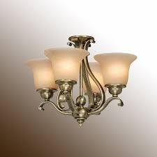 chandelier ceiling fan light antique brass w cognac le glass