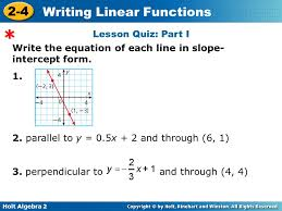 lesson quiz part i write the equation of each line in slope