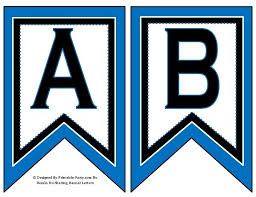 5 Inch Swallowtail Blue Black Printable Banner Letters