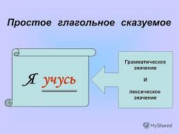 Презентация на тему Курсовая работа Гимназия Петроградского  4 Я учусь Грамматическое значение И лексическое значение Простое глагольное сказуемое