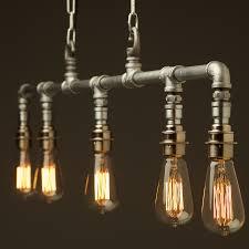 industrial pipe lighting. Chained Plumbing Pipe Chandelier Light Fixture Lights Vintage Galvanised Home Design 6 Industrial Lighting B