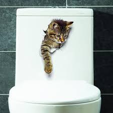 3d cute cat wall stickers toliet stickers decorations creative wall stickers decorate your home like a makeup artist cod