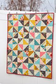 Half Square Triangle baby quilt pattern & Pin and sew rows together in order. By pressing the seam allowances in  opposite directions on odd and even rows, your seams should but up against  each other ... Adamdwight.com