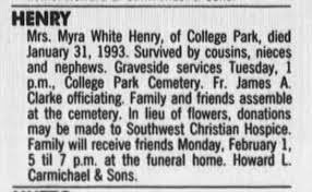 White Myra Henry death 01 Feb 1993 Atlanta Constitution - Newspapers.com