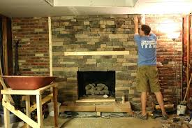 how to put up stone on fireplace