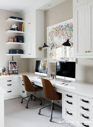 double desk home office. You\u0027ll Be Sure To Stay On Task In This Beautifully Designed Home Office Fitted With Two Wooden Desk Chairs Positioned A Gray Carpeted Floor Front Of Double