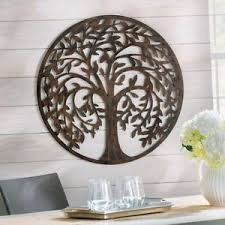image is loading 28 034 round antique brown metal tree of  on brown metal tree wall art with 28 round antique brown metal tree of life wall art sculpture indoor