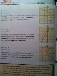 three types of solutions to systems of linear equations