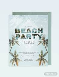 Beach Invitation Beach Birthday Party Invitation Template Word Psd