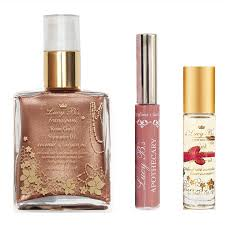 frangipani shimmer oil roll on perfume oil and lip gloss