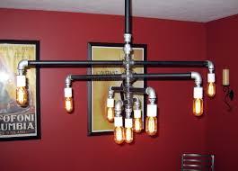 industrial pipe lighting. Custom Made Industrial Iron Pipe 9-Bulb Chandelier Lighting T