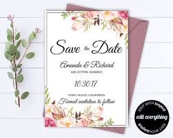 Pink Floral Save The Date Wedding Template Pink Floral Save