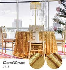 queendream 108 round gold wedding decoration sequin tablecloths b01ly06syu