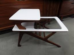 mid century modern white and walnut step table with glass insert