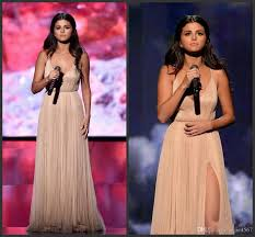 2019 New American Music Awards Selena Gomez A Line V Neck High Split Formal Evening Celebrity Dress Backless Long Champagne Prom Dresses Prom Long