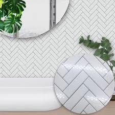 funlife self adhesive waterproof white chevron tiles kitchen bathroom furniture tile sticker wall decal 15