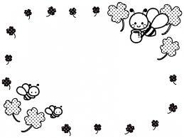 かわいいみつばちとクローバーの白黒フレーム飾り枠イラスト 無料