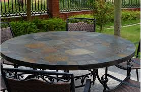 63 round slate outdoor patio dining table stone oceane with regard to top inspirations 13