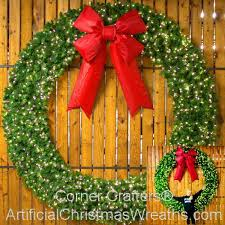 8 foot l e d lighted wreath artificialwreaths com giant wreaths 96 inch free commercial grade indoor