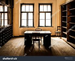 wooden office. Retro Style Office Room With Wooden Table, Old Chairs And Cabinets. Vintage Theme. N