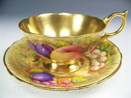 Decorative Cups And Saucers AYNSLEY GOLD FRUITS 60 TEA CUP AND SAUCER SET in Antiques 1