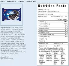 food label of oreos oreo serving size kivanyellowrivers ideas