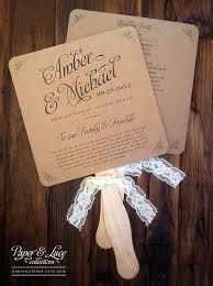 wedding program fans rustic kraft lace set idealpin