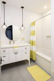 Simple Boy Teenage Bathroom Ideas With Striped Curtain And Yellow - Yellow and white bathroom