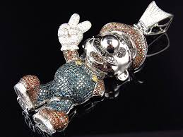 colored genuine diamond cartoon character pendant in solid 10k white gold 8 ct