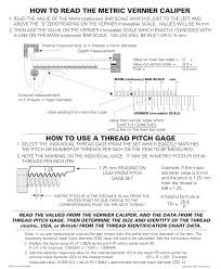 Metric Thread Chart External How To Read The Metric Vernier Caliper How To Use A