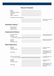 Fill In The Blank Resume Pdf Beautiful Blank Resume Templates Free
