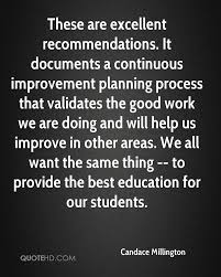 candace millington quotes quotehd these are excellent recommendations it documents a continuous improvement planning process that validates the good