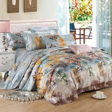 orange and blue bedding sets light blue orange yellow and brown autumn scene jungle tree rustic