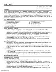 Sample Resume Medical Laboratory Technologist New Medical