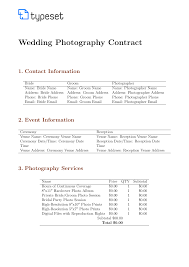 Contracts Wedding Photography Contract Template Template