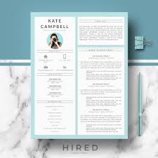 Resume Modern Ex R27 Kate Campbell Creative And Modern Resume Template For Word Pages Creative Resume Cv Design Matching Cover Letter References Free