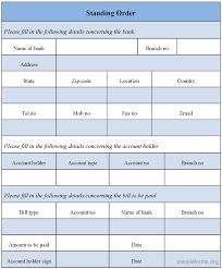 Standing Order Form Sample Forms