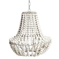 white wood bead chandelier light fixtures design ideas