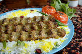 with saffron rice persian seekh kebab