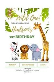 Jungle Theme Birthday Invitations Details About Personalised Jungle Theme Birthday Invitation Digital File